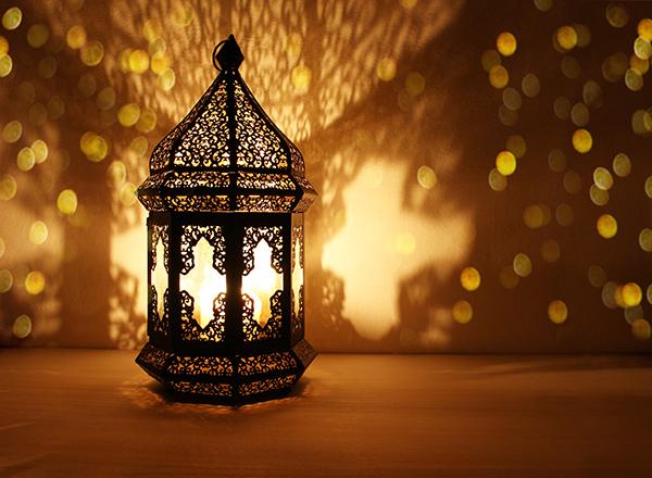 Ramadan lantern on table