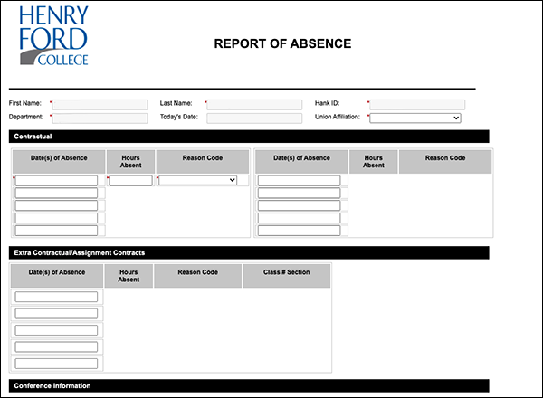 Screenshot of absence report form