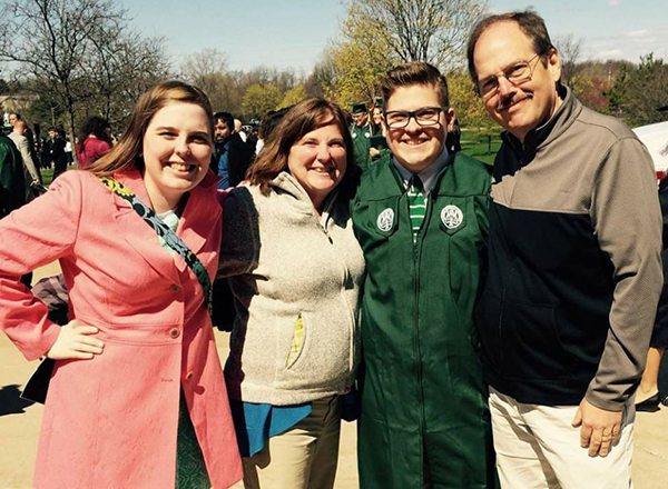Robey family at a graduation ceremony