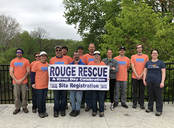 Volunteers at HFC's Kingfisher Bluff as part of the 2019 Rouge River Cleanup. HFC's involvement was organized by the HFC Facilities Department.