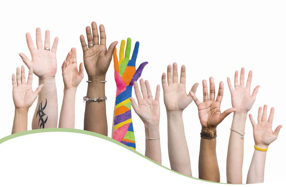 Photo of diverse hands raised