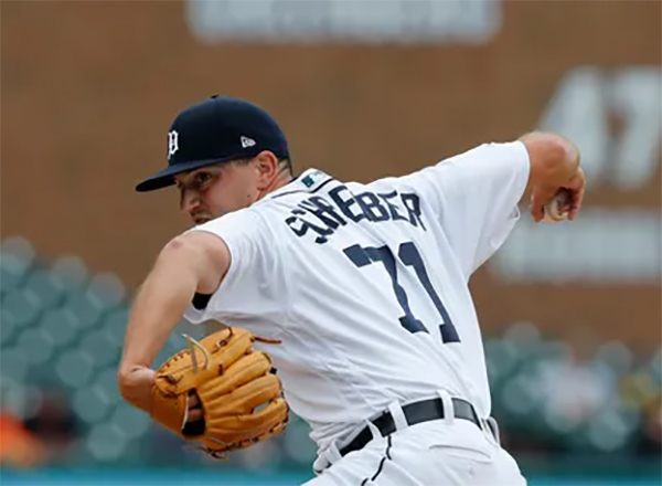 John Schreiber on the mound for the Tigers. Photo courtesy Detroit News.