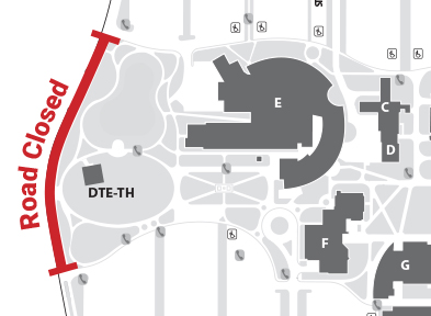 A cutout showing where the road is closed. Refer to information below for a full map of campus.