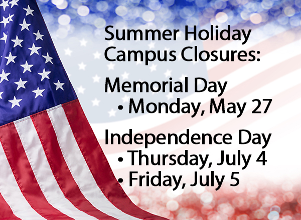 U.S. Flag background with text overlay: Summer Holidays, Memorial Day and Independence Day