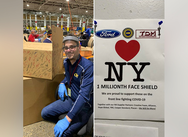 HFC instructor Hassan Taleb worked on the construction of the one-millionth face shield needed for first responders during the coronavirus pandemic. He's seen here signing the box that will ship this particular face shield to New York City.