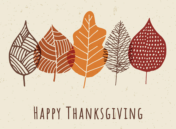Thanksgiving graphic - leaves and Happy Thanksgiving