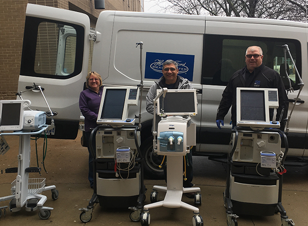 HFC Health and Human Services and Campus Safety team members help Henry Ford Health System pick up five ventilators to use at their Wyandotte and West Bloomfield hospitals.