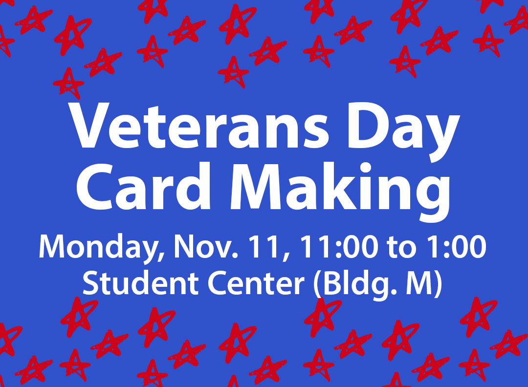 Blue background, red stars, text about Veterans Day Card Making