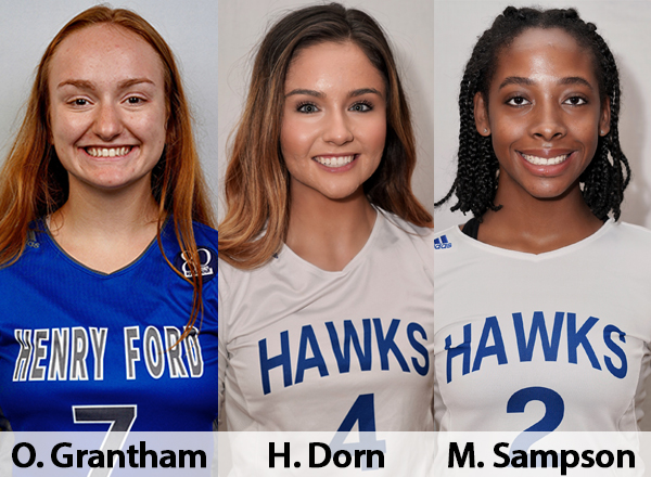 Hawks volleyball players Olivia Grantham, Halee Dorn, Monique Sampson