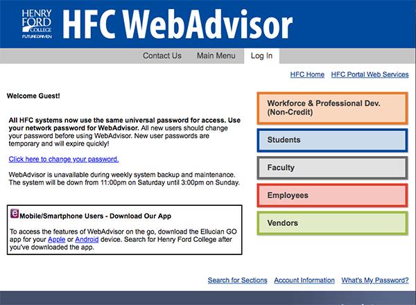 Webadvisor screen shot