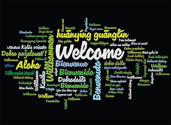 Word cloud with the word Welcome in many languages