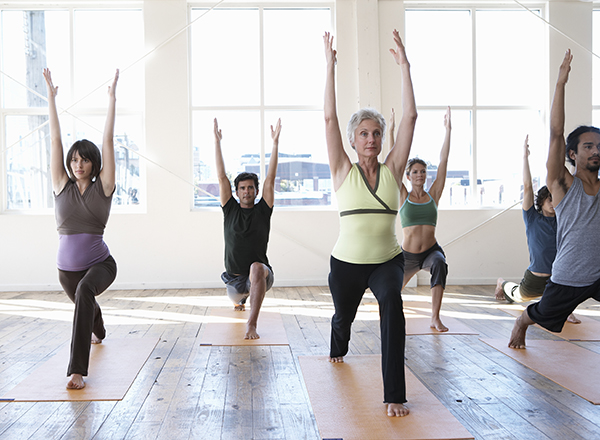 People in yoga poses