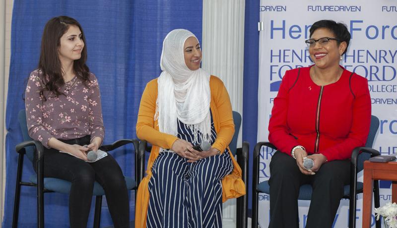 Panelists Yasmeen Berry, Takwa Saleh, and State Senator Sylvia Santana