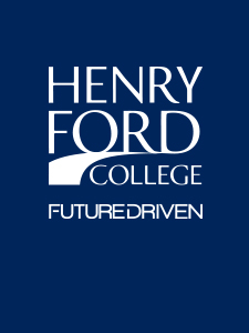 """White Henry Ford College logo on blue background with white tagline below that reads """"Future Driven"""""""