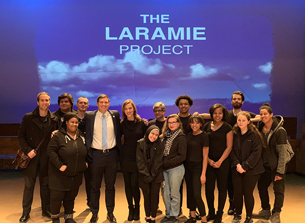 Russell Kavalhuna and Courtney Kavalhuna (fifth and sixth from left) with the cast of HFC's production of <em>The Laramie Project</em>.
