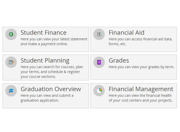 Screenshot of Student Planning showing various menu items for financial aid, scheduling, grades, and graduation