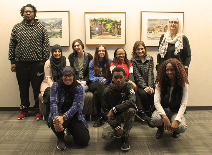 2019-20 Student Council members first row from L to R: Zeaneb Al-Howaishy, Lathario Stovel, Baraka Elmadari, Demitria Dawson. Back L to R: Arieg Obahi, Mackenzie McLaughlin, Kay Peter, Chyna Greer, Mira Yaghi , Faculty Advisor Victoria Shepherd