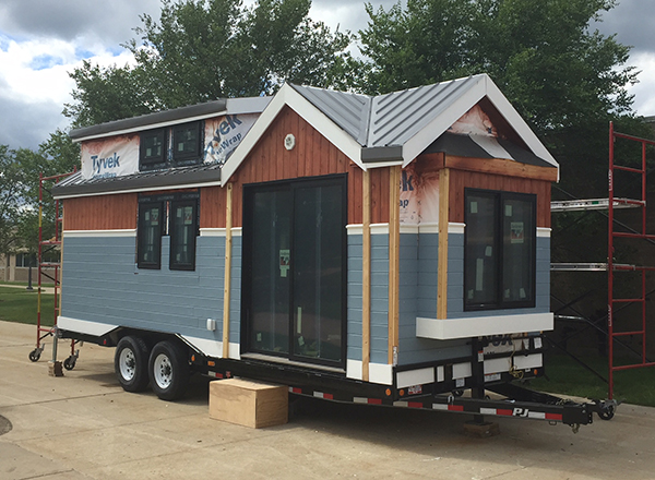 An early view of the tiny home, prior to completion