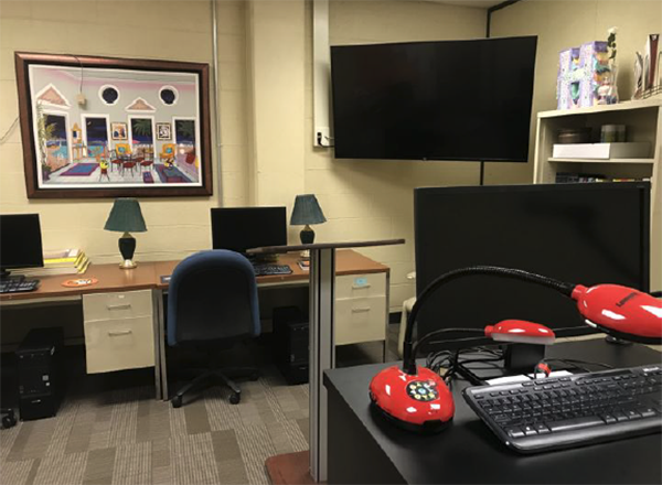 The lab includes technology and space where students can be coached in a one-on-one, real-time setting