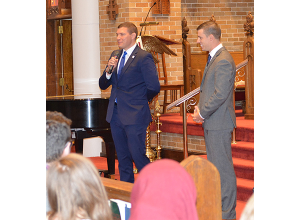 HFC President Russell Kavalhuna and Speaker of the House Lee Chatfield talk to students.