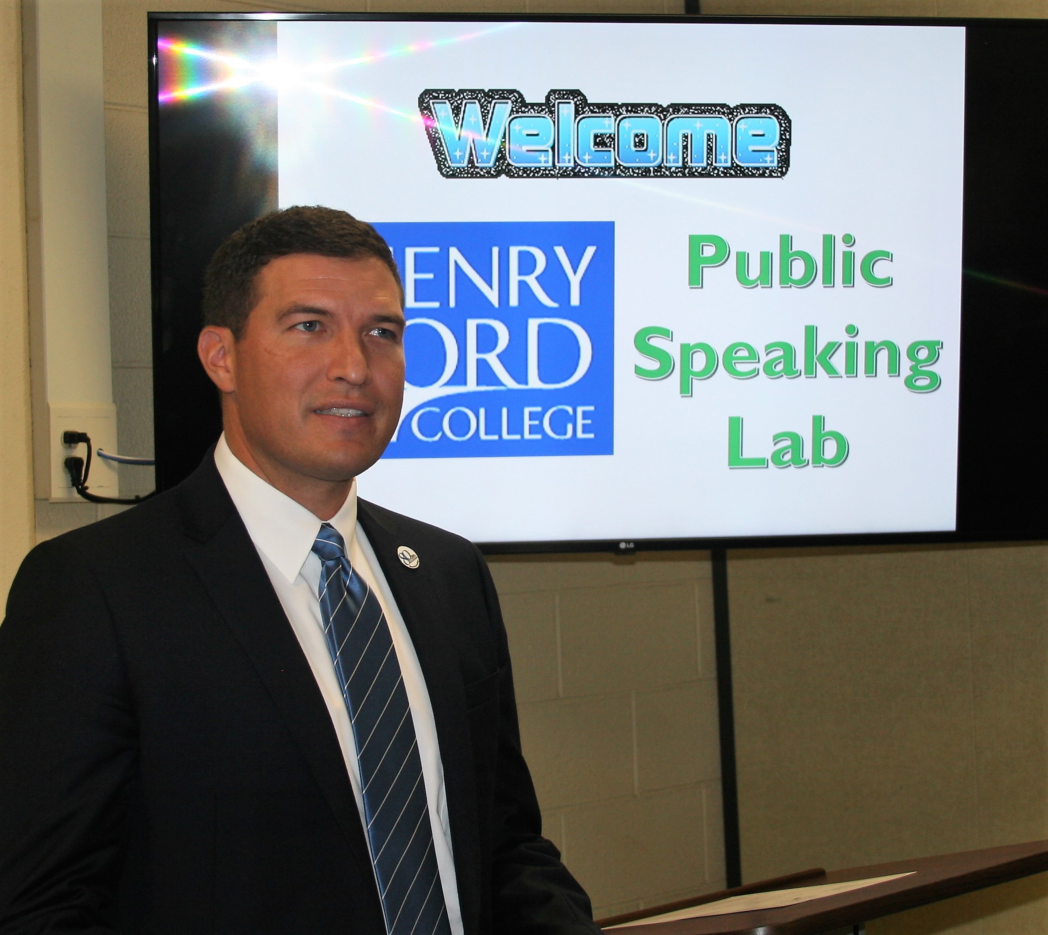 HFC President Russell Kavalhuna at the Public Speaking Lab open house.