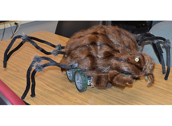 Scary Spider is a mobile arachnid robot that HFC students created last semester for Halloween.