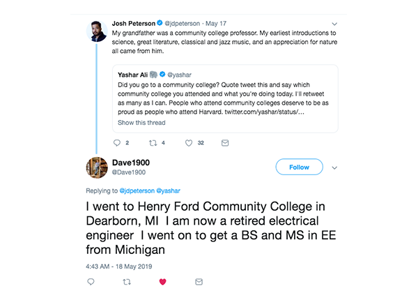 On May 18, retiree Dave Davis tweeted about his proud college beginnings at HFC.