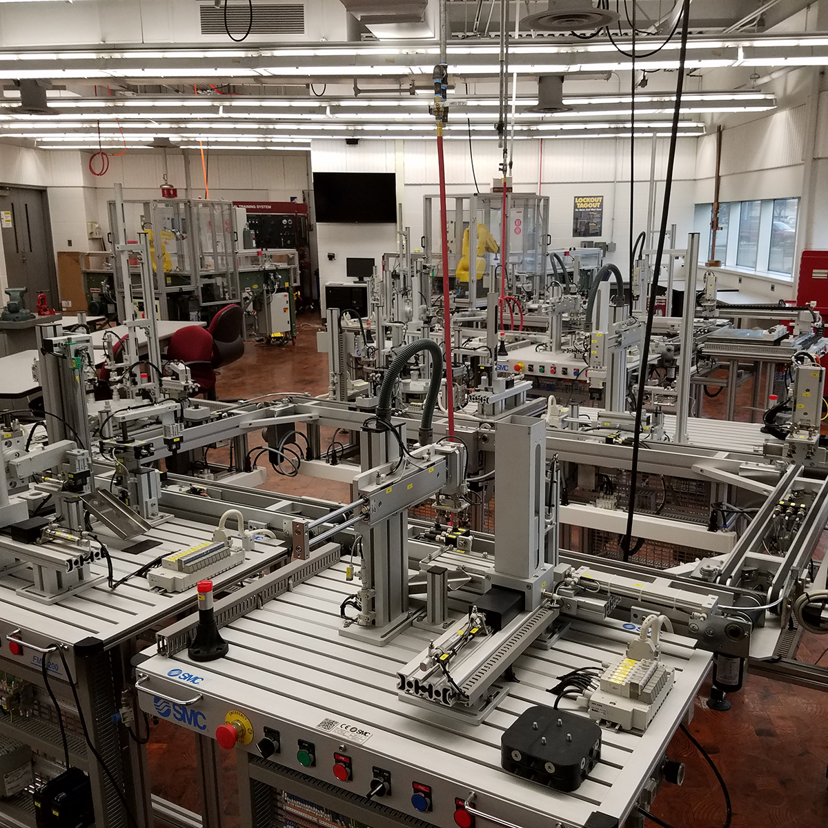 Photograph of machinery inside electronic engineering lab