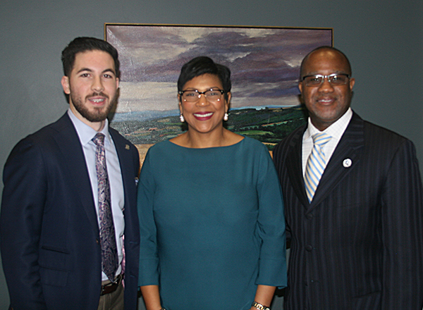 Representative Abdullah Hammoud (left) and Senator Sylvia Santana (center) joined Vice President Reginald Best (right) in celebration of the approval of the capital outlay supplemental budget of $6.7 million for the HFC Tech Building project.