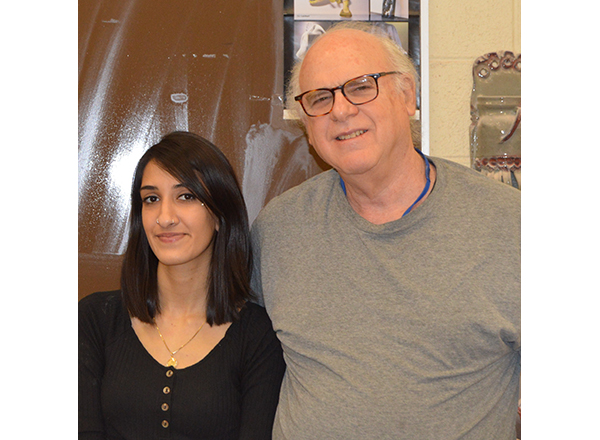 Steve Glazer, HFC ceramics/fine arts professor, and HFC art student Shanzae Malik, who won third place in the 3-D category at this year's LAND Conference.