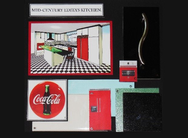 Retro kitchen design with a black and white checkerboard pattern and red accents inspired by Coca-cola branding