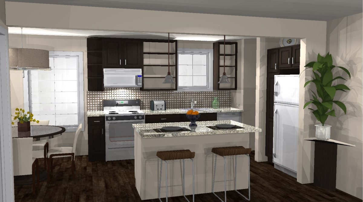 3-D rendered image of modern kitchen with a brown and cream color scheme. A circular table sits to the left of the image, and the kitchen contains a small island in the middle of the room accompanied by two chairs. A white fridge and stove are rendered as well as lights hanging from the ceiling. A tile backsplash sits behind the stove, and a decorative plant is on the right on a small table.