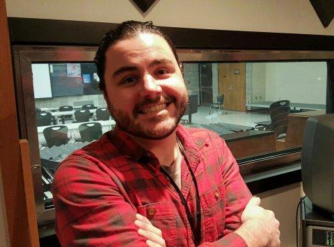 Recording Studio instructor Bryan Beeler in the HFC recording studio control room.