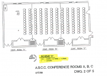 Blueprint showing Rosenau rooms not divided with 143 chairs