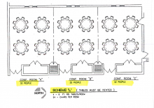 blueprints of Rosenau rooms, with 5 tables in each of the first two rooms, and four tables in the last room