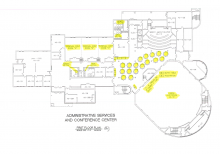 Blueprint of Administrative Services and Conference Center showing the first floor containing conference rooms and auditoriums