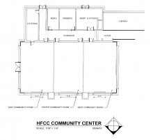 Blueprint of the Welcome Center Community Conference Rooms without tables