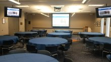 Rosenau rooms not divided by walls, with 9 tables