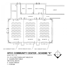 Blueprint for Welcome Center Conference rooms  with 72 rectangular tables, 108 chairs and 3 rectangular food tables and a podium