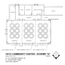 Blueprint for Welcome Center Conference rooms with 18 round tables with 144 chairs