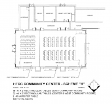 Blueprint for Welcome Center Conference rooms with 18 rectangular tables and 36 chairs in East, and 32 rectangular tables and 64 chairs in Center and West