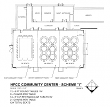 Blueprint for Welcome Center Conference rooms with 14 tables in a rectangle with 28 chairs in East, 6 round tables  and 48 chairs in Center and 6 round tables and 48 chairs in West
