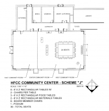 Blueprint of Welcome Center Community Conference Rooms with 9 tables in a square with 24 seats and 3 rectangular food tables