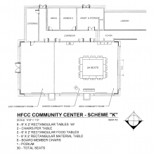 Blueprint of Welcome Center Community Conference Rooms with 9 tables in a square with 24 seats and 2 rectangular food tables