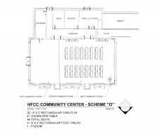 Blueprint of room arrangement with 32 6 foot by 2 inch rectangular tables, 2 chairs per table, with a total of 64 seats