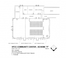 Blueprint of room arrangement with 120 chairs, a total of 120 seats and 2 6 foot by 2 inch tables
