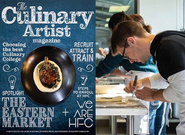 Magazine cover next to student cutting pastry.