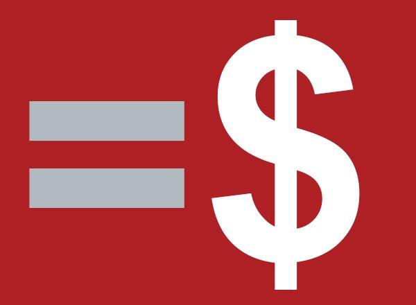Red background, equal sign, dollar sign