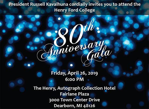 80th anniversary gala graphic -- white text on dark background