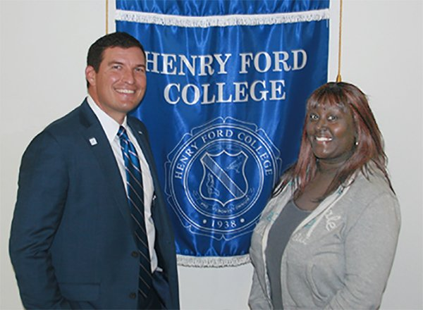HFC President Russell Kavalhuna and student Tiffanie Osley.